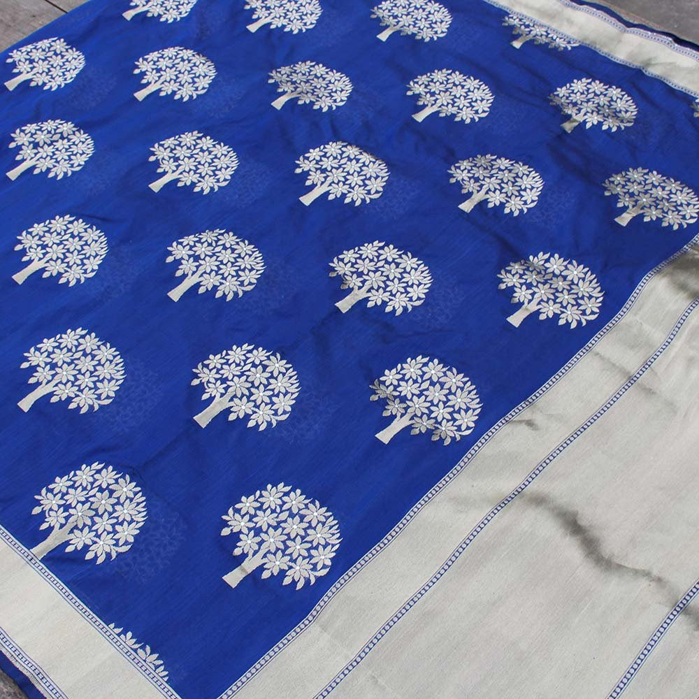 Navy Blue Pure Silk Georgette Banarasi Handloom Saree