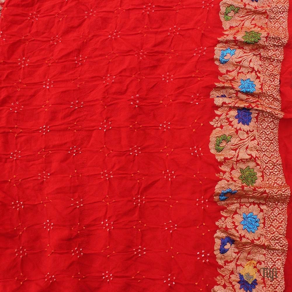 Orange Pure Georgette Banarasi Bandhani Handloom Saree