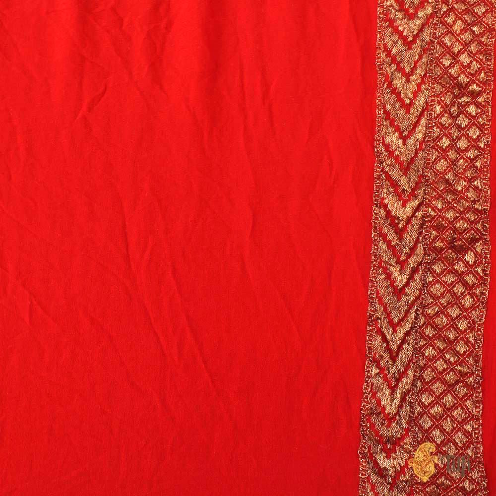 Reddish Orange Pure Georgette Banarasi Bandhani Handloom Saree