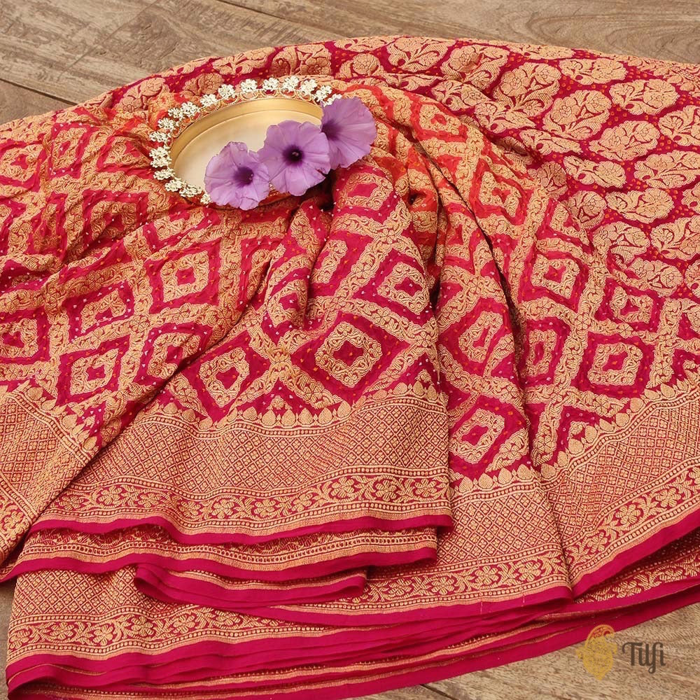 Orange-Rani Pink Pure Georgette Banarasi Bandhani Handloom Saree