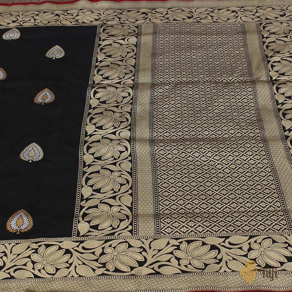 Black Pure Katan Silk Handloom Banarasi Saree