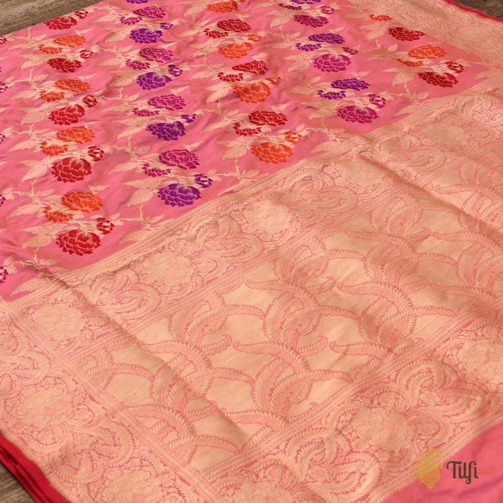 Ivory-Light Gulabi Pink Pure Katan Silk Banarasi Handloom Saree