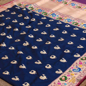 Black-Navy Blue Pure Katan Silk Banarasi Paithani Handloom Saree