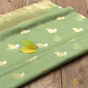 Sage Green Pure Cotton Banarasi Handloom Saree