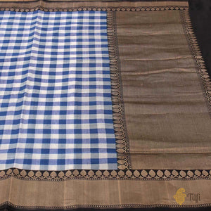 Blue-White Pure Cotton Banarasi Handloom Saree