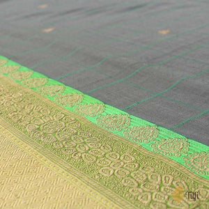 Grey Pure Cotton Banarasi Kadiyal Handloom Saree