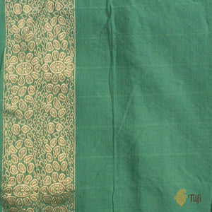 Aqua Green Pure Cotton Banarasi Kadiyal Handloom Saree