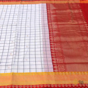 White Pure Cotton Banarasi Kadiyal Handloom Saree
