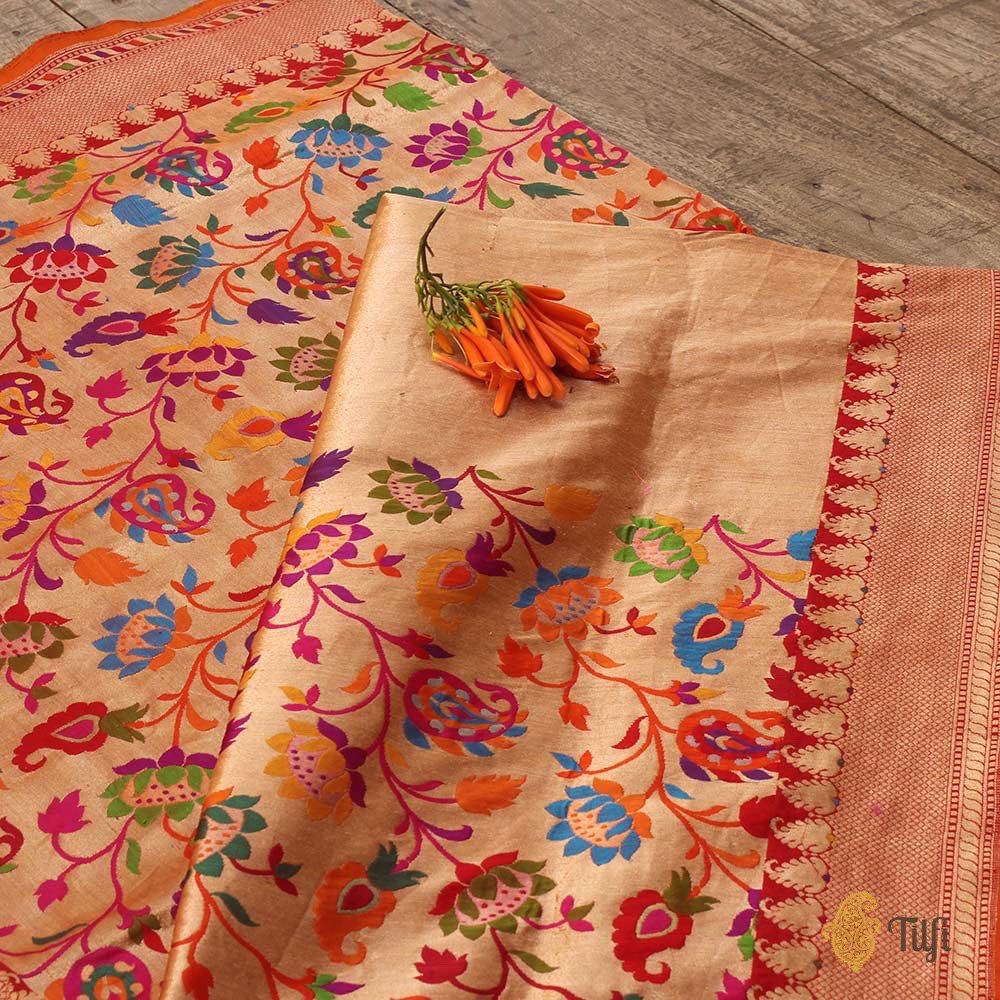 Gold-Red Pure Katan Silk Banarasi Handloom Saree
