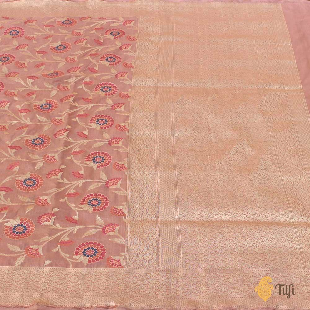 Blush Pink Pure Katan Silk Banarasi Handloom Saree