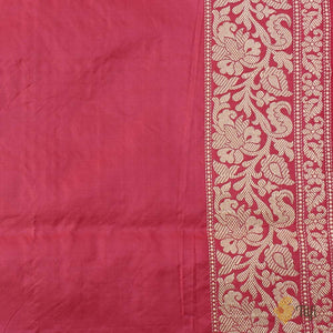 Peach-Fuchsia Pink Pure Soft Satin Banarasi Handloom Saree