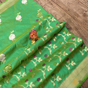Lemon-Turquoise Green Pure Katan Silk Banarasi Handloom Saree