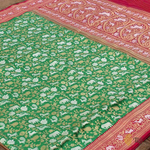 Green-Pink Pure Katan Silk Banarasi Handloom Saree