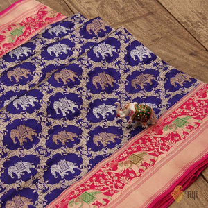 Midnight Blue-Pink Pure Katan Silk Banarasi Handloom Saree