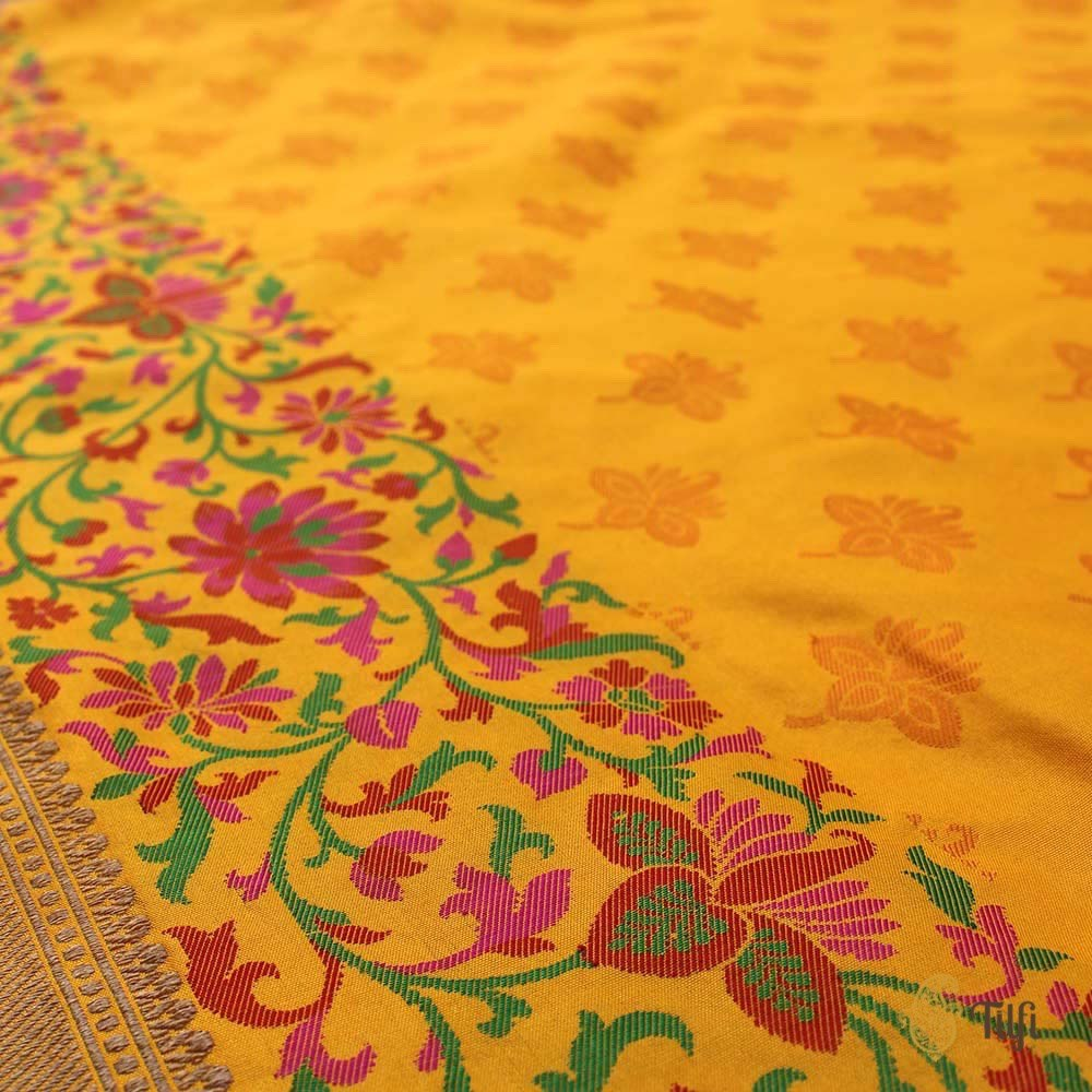 Orange-Yellow Pure Katan Silk Banarasi Handloom Saree