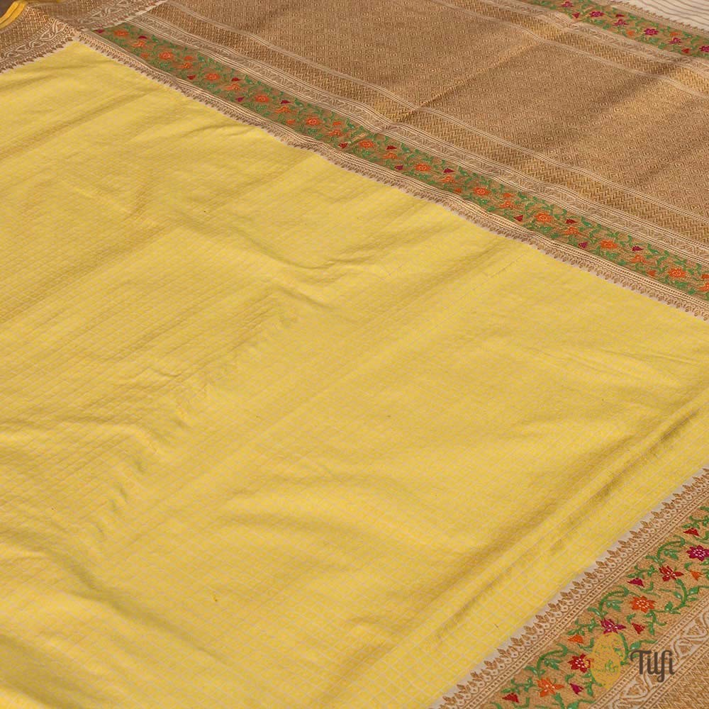 Cream-Mint Yellow Pure Katan Silk Banarasi Handloom Saree