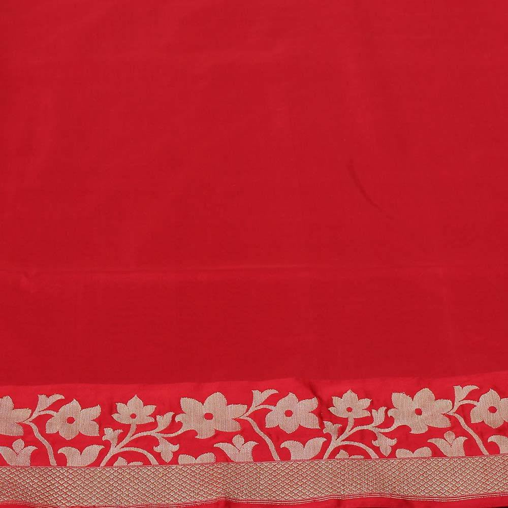 Off White-Red Pure Katan Silk Banarasi Handloom Saree
