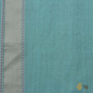 Aqua Blue Pure Cotton Banarasi Handloom Saree