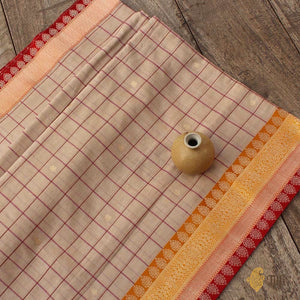 Beige Pure Cotton Banarasi Kadiyal Handloom Saree