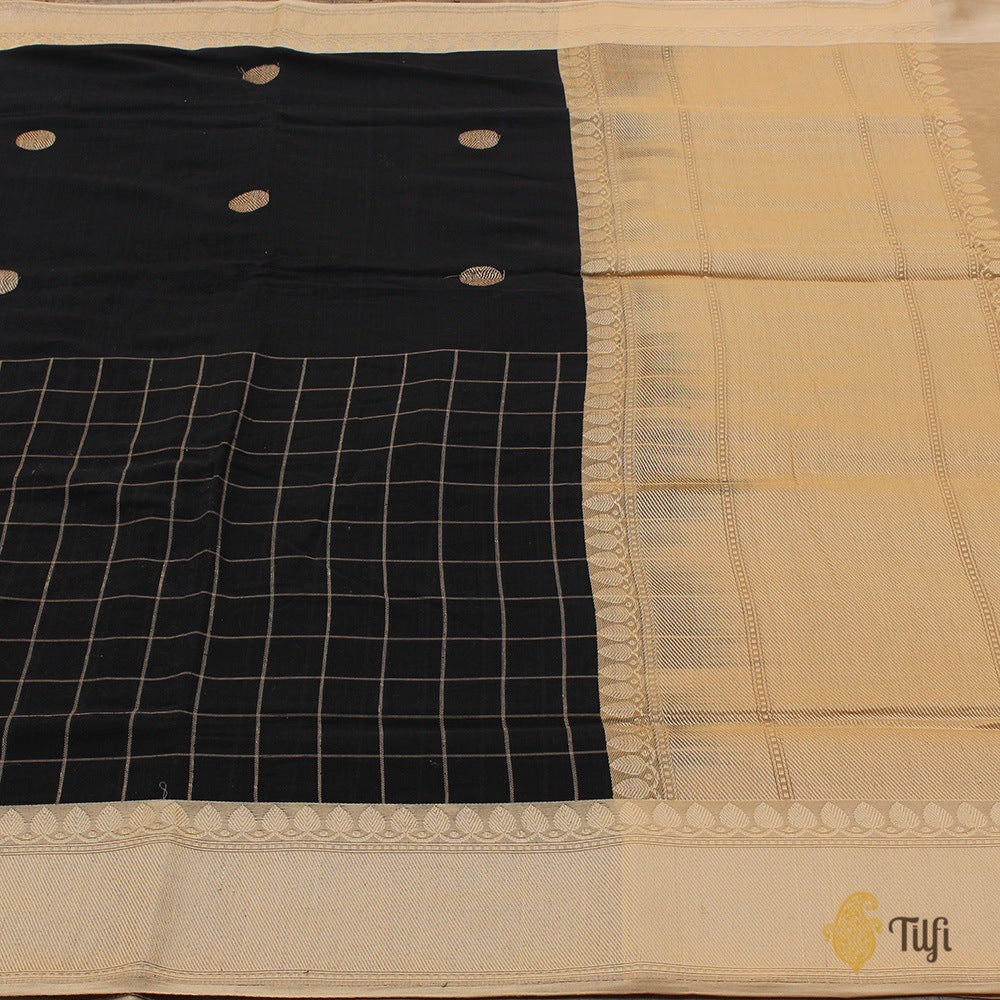 Black Pure Cotton Banarasi Kadiyal Handloom Saree