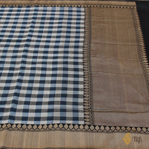 Blue-White-Grey Pure Cotton Banarasi Handloom Saree