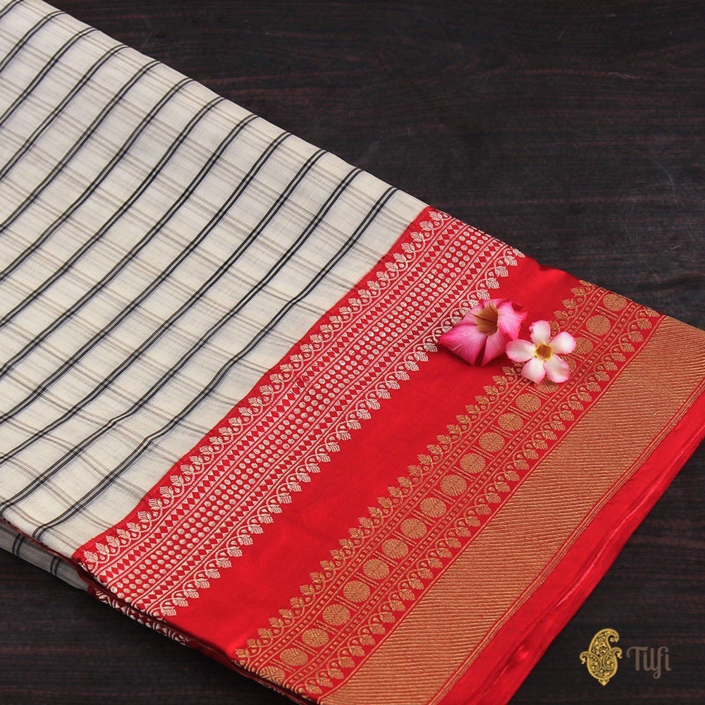 White-Red Pure Kora Silk Banarasi Handloom Saree