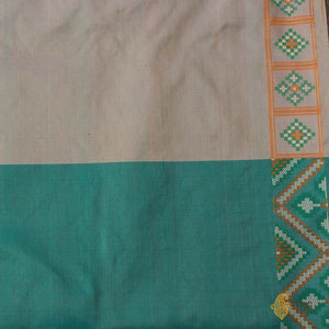Cream-Blue Pure Soft Satin Silk Banarasi Patola Handloom Saree