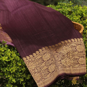 Mauve-Coke Brown Ombré Pure Tussar Georgette Silk Banarasi Handloom Saree