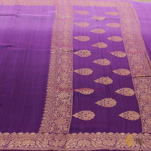 Purple Ombré Pure Tussar Georgette Silk Banarasi Handloom Saree