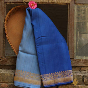 Sky Blue-Egyptian Blue Ombré Pure Tussar Georgette Silk Banarasi Handloom Saree