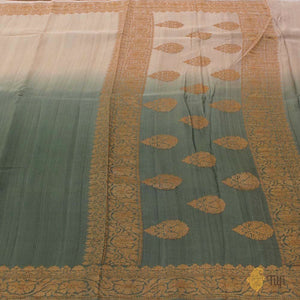 Cream-Sage Green Ombré Pure Tussar Georgette Silk Banarasi Handloom Saree