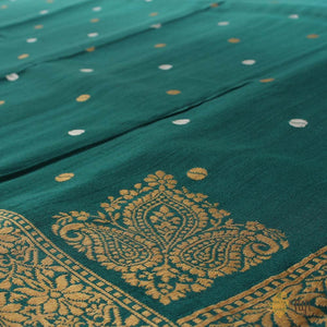 Turquoise-Teal Green Ombré Pure Tussar Georgette Banarasi Handloom Saree