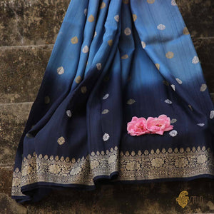 Denim-Navy Blue Ombré Pure Tussar Georgette Silk Banarasi Handloom Saree