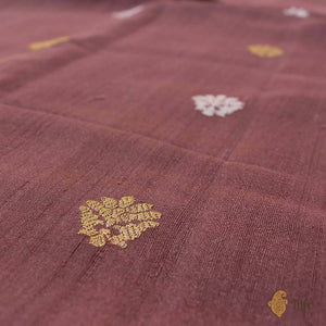 Rosy Brown Pure Tussar Georgette Silk Banarasi Handloom Saree