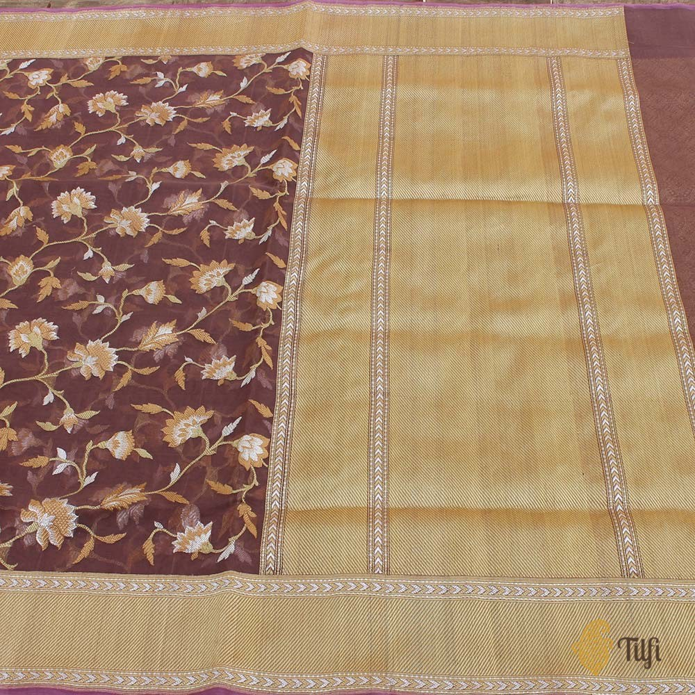 Rosy Brown Pure Kora Silk Handwoven Kadwa Banarasi Saree