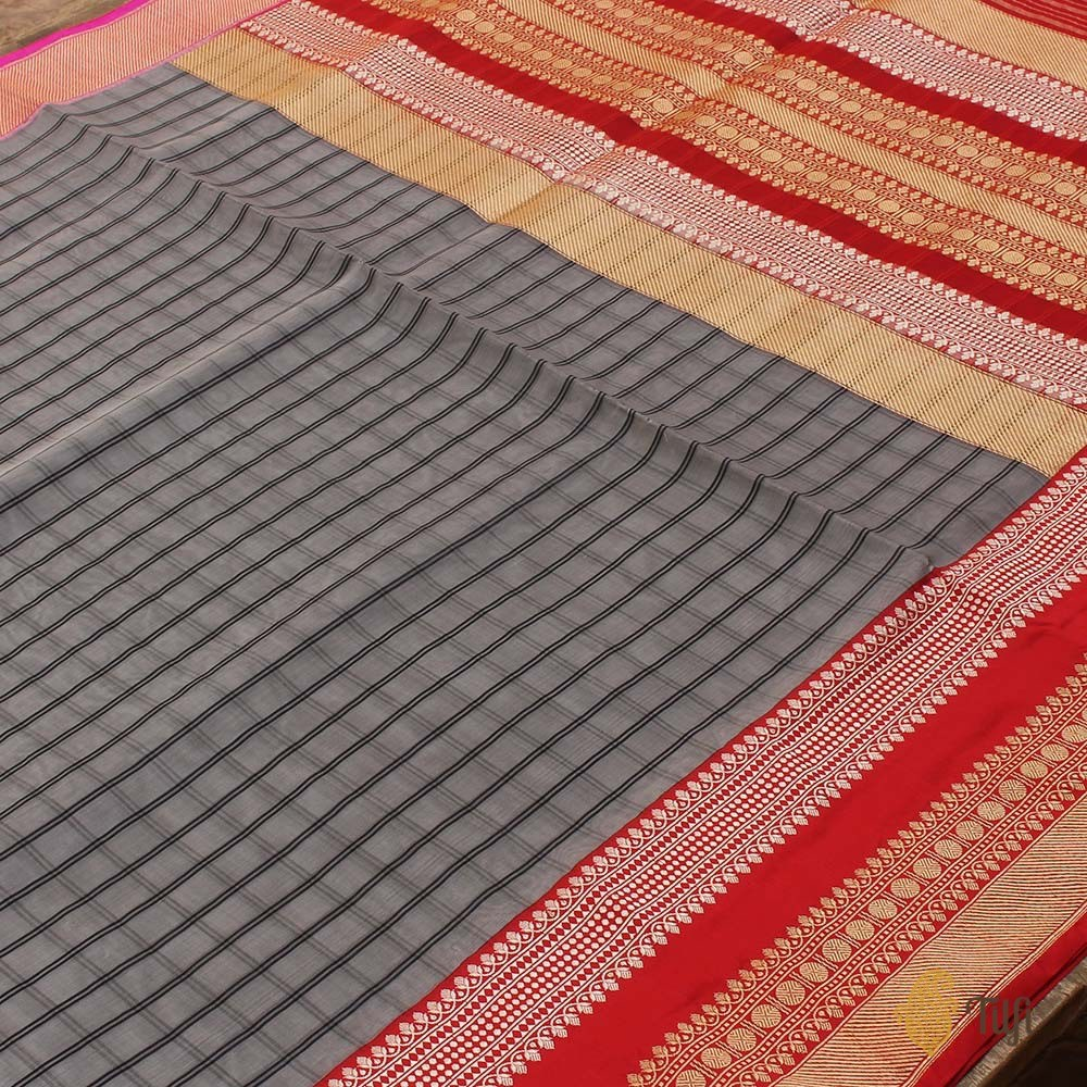 Grey-Red Pure Kora Silk Banarasi Handloom Saree