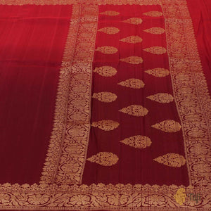 Red-Burgundy Ombré Pure Tussar Georgette Silk Banarasi Handloom Saree
