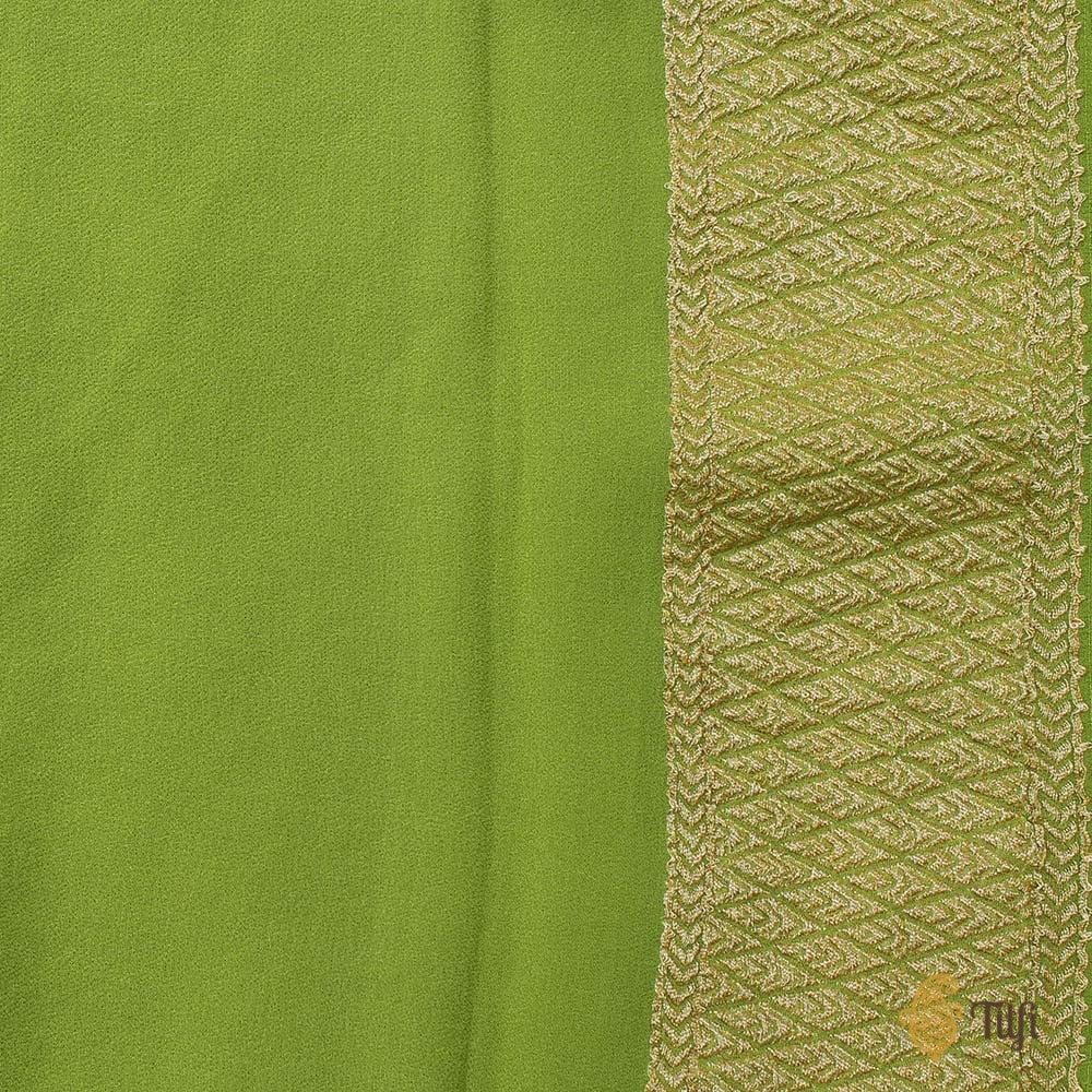 Orange-Green Ombré Pure Georgette Banarasi Handloom Saree