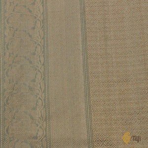 Off-White-Sage Green Pure Cotton Handwoven Banarasi Saree