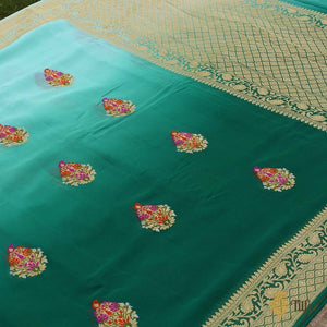Aqua Blue-Teal Green Ombré Pure Georgette Banarasi Handloom Saree