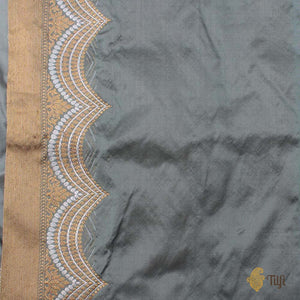 Blueish Grey Pure Katan Silk Banarasi Handloom Saree