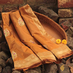 Golden Brown Pure Katan Silk Banarasi Handloom Saree