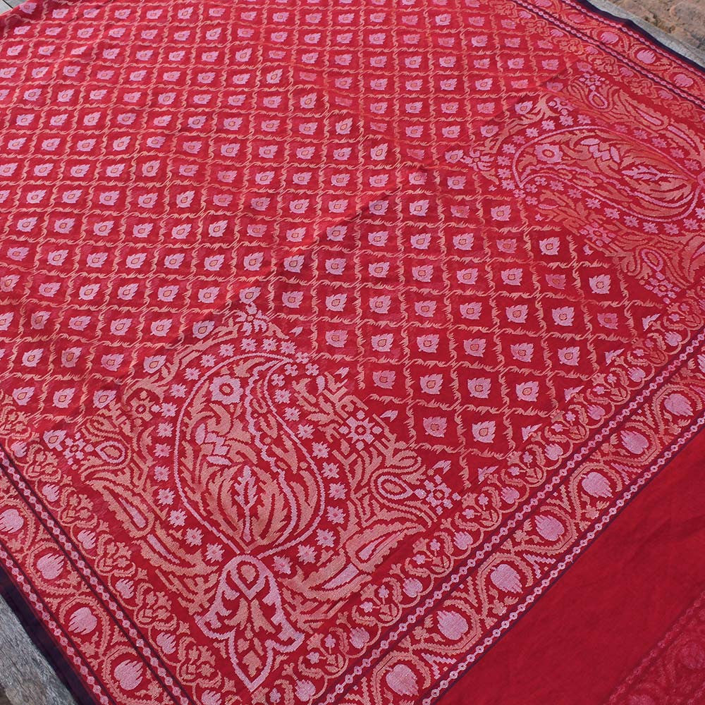Red Pure Cotton Real Zari Banarasi Handloom Saree
