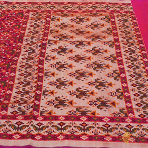 Orange-Rani Pink Pure Katan Silk Banarasi Handloom Patola Saree