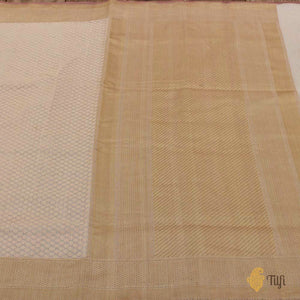 Off-White Pure Cotton Handwoven Banarasi Saree
