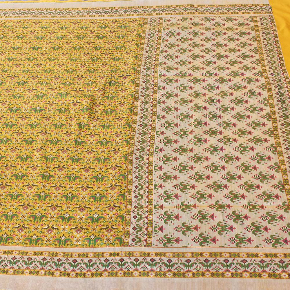 Yellow Pure Katan Silk Banarasi Handloom Patola Saree