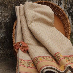 White Pure Cotton Banarasi Handloom Saree