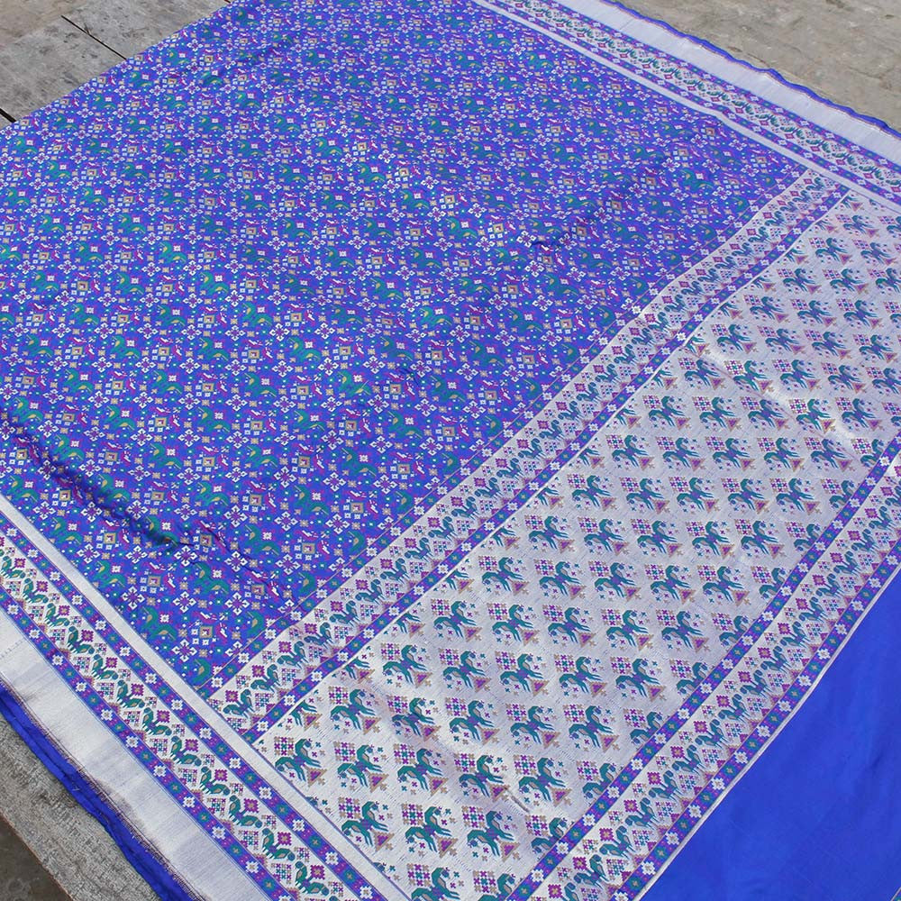 Royal Blue Pure Katan Silk Banarasi Handloom Patola Saree