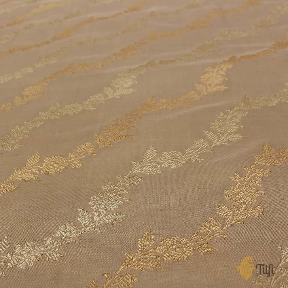 Cream-Beige Pure Katan Silk Banarasi Handloom Saree