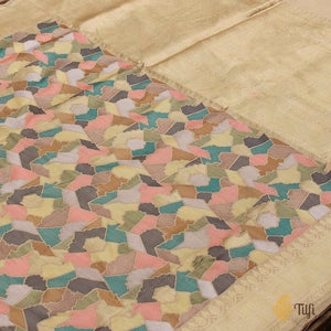 Multicoloured Pure Katan Silk Banarasi Handloom Saree